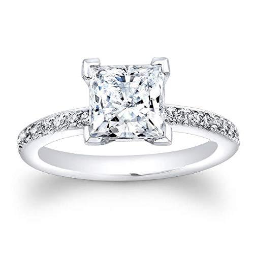 White Sapphire engagement ring antique design with 3 carat Princess Cut natural white sapphire center 0.25 ctw diamonds
