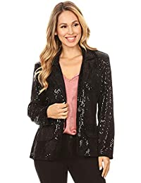 ANNA-KACI Women's Evening Sparkle Sequins Open Front Long Sleeve Blazer Jacket