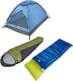 Cheap High Peak USA Alpinizmo Pilot 20 + Tr 0 Sleeping Bag with Monodome 3 Tent Combo Set, Blue/Green, One Size