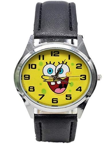 - New Horizons Production Spongebob Squarepants Round Face Black Leather Band Wrist Watch