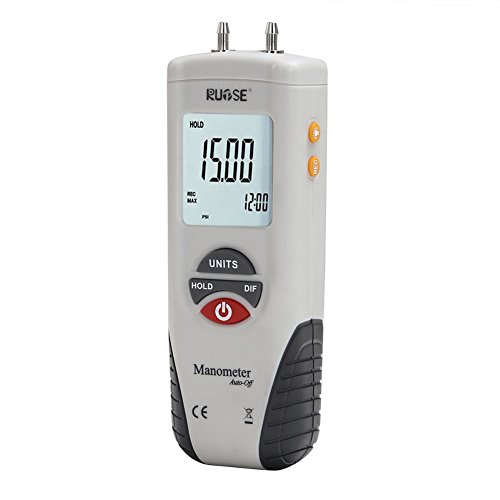 RUPSE Hand-held HT-1890 Digital Differential Pressure Gauge Barometer Professional Digital Air Pressure Meter & HVAC Manometer ()