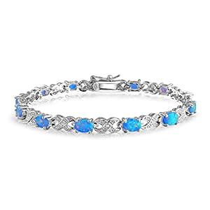 Bling Jewelry 925 Silver Infinity Synthetic Blue Opal XO Tennis Bracelet 7.5in by Bling Jewelry