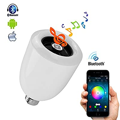 Pacaly Bluetooth Speaker Smart LED Light Bulb Audio Music RGB Lamp- Smartphone Free APP Controlled Dimmable Multicolored Colorful LED Display,Works with iPhone, iPad, Android Phone and Tablet