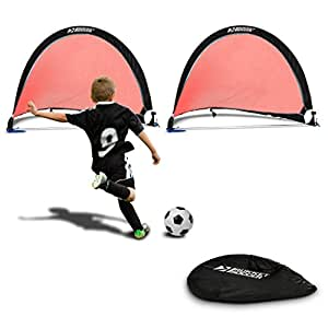 Rukket Pop Up Soccer Goal - Two Portable Soccer Nets with Carry Bag and Anchoring Stakes (4ft)