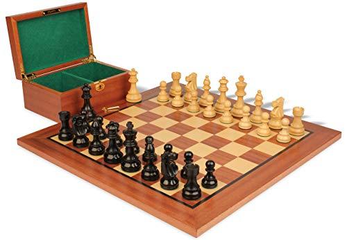 French Lardy Staunton Chess Set in Ebonized Boxwood & Boxwood Mahogany Board & Box Package - 2.75