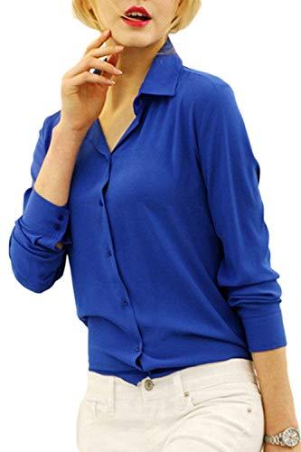 Manches Uni des lgant Manche Revers Style Bleu Femmes Longues Printemps Chemise Chemisier Blouse Automne Spcial Femme Bouffant Shirts Affaires Haut Style Blouse Moderne 7Izvxx