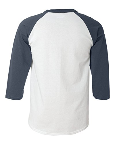 Champion Men's Tagless Baseball Raglan T-Shirt, white/navy, Small