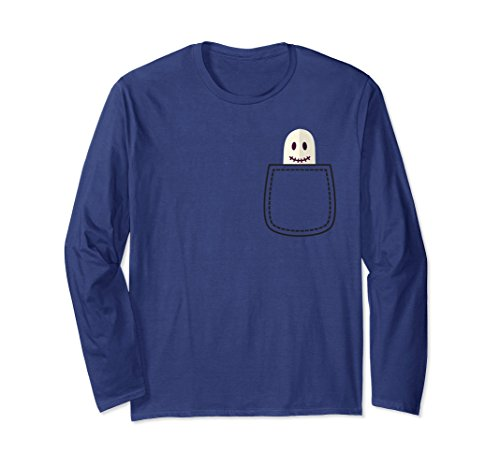 Cute Halloween Shirt Custom (Unisex Funny Halloween Party Costume Shirt with Cute Pocket Ghost 2XL Navy)
