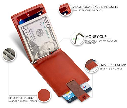 SERMAN BRANDS RFID Blocking Slim Bifold Genuine Leather Minimalist Front Pocket Wallets for Men with Money Clip Thin… 3