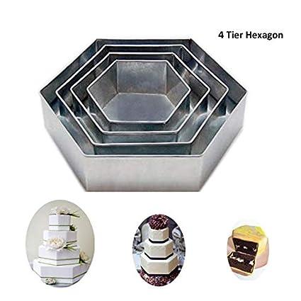 Euro Tins 4 moldes de tarta de cumpleaños aniversario de boda latas hexagonal/sartenes 6