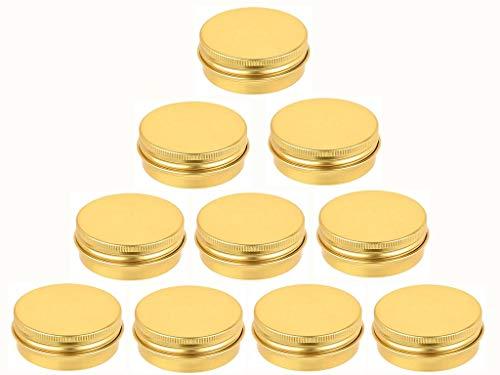 JKLcom Golden Metal Tin 10Pack,Round Screw Top Flat Metal Tin Container Metal Steel Tin Jars (2 OZ)