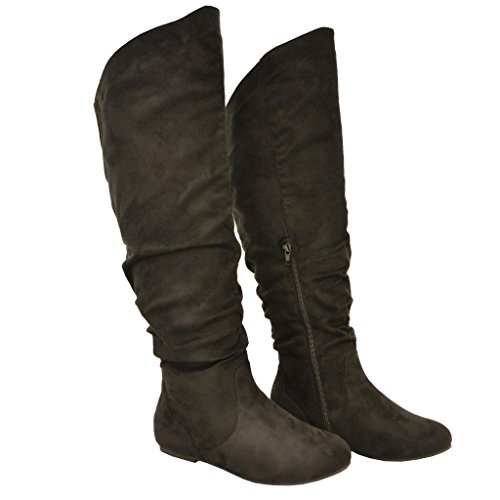 Style Calf High Boot (Twisted Women's Shelly Wide Calf Faux Suede Knee-High Slouchy Boot - BLACK , Size)