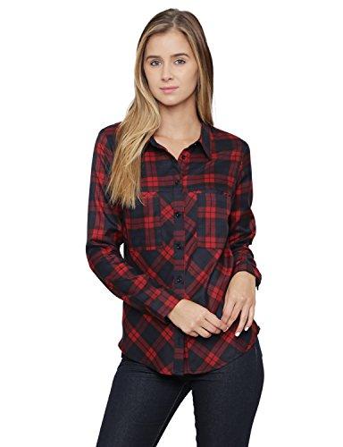 ALYGNE Womens Lightweight Pocket Flannel Shirt RED-S