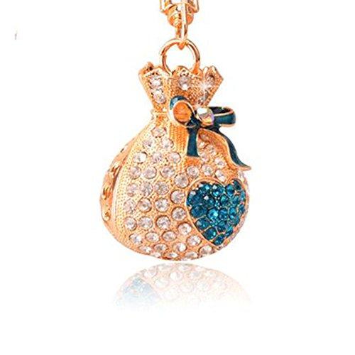 GH Auto Schlüsselanhänger Modisch Legierungen Diamant Taschen Schlüssel Anhänger Geschenke 10.5Cm Blue