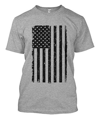Distressed Black USA Flag - United States Men's T-Shirt (Light Gray, - Bt Guns
