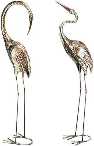 CasaJame Juego de 2 Figuras Decoración Jardín en Metal Pájaros Grullas Plateados Altura Variados A 129cm