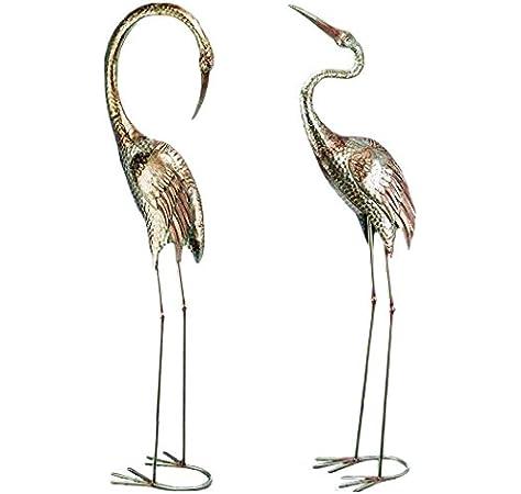 CasaJame Juego de 2 Figuras Decoración Jardín en Metal Pájaros Grullas Plateados Altura Variados A 129cm: Amazon.es: Jardín