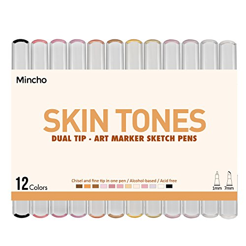 Dual Tip Skin Tones Markers Pen Set, Permanent Art Sketch Marker for Manga, Portrait, Flesh, Illustration Drawing - Pack of 12 Includes Colorless Blender by Mincho