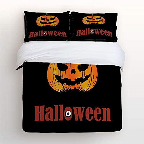 Art Decor Home Happy Halloween Funny Pumpkin Clipart Pattern 4 Piece Duvet Cover Bedding Sets 100% Polyester Fiber Comfortable Breathable Soft Material for Childrens/Kids/Teens/Adults -