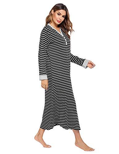 Ekouaer Nightgown,Long Loungewear Striped Sleepwear Night Dress (Black White Striped, X-Large)