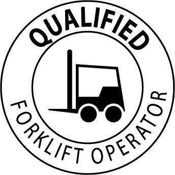 NMC HH17 2'' x 2'' PS Vinyl Hard Hat Emblem w/Legend: ''Qualified Forklift Operator'', 12 Packs of 25 pcs