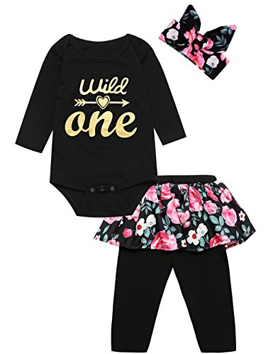 Truly One 3PCS Outfit Set Baby Girls Floral Tops + Pants + Headband (12-18 Months, Wild One Long)]()