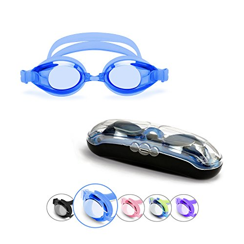 Adult Swim Goggles, Sprive Classic Anti-Glare Mirror Coat Lens (Age 15+) with Protective Case, Nose Clip, Ear Plugs. UV Protection, 100% Silicone, Hypoallergenic, Waterproof, Soft, - Swimming Best Googles