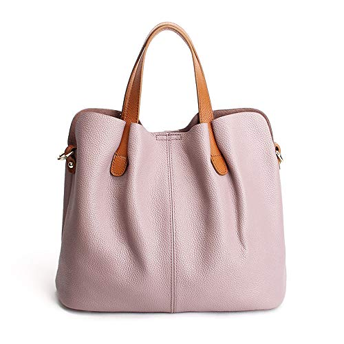 Zg Women Genuine Leather Small Top Handle Satchel Daily Work Tote Shoulder Bag Large Capacity ()
