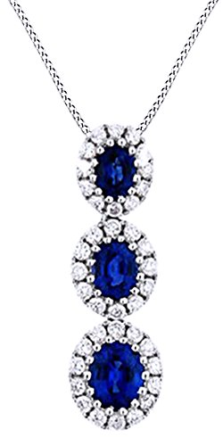(AFFY 14K White Gold Simulated Blue Sapphire & White Cubic Zirconia Journey Pendant Necklace)