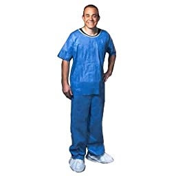 Enviroguard SMS Soft Scrub Pant with Elastic Waist and Open Ankles, Disposable, Denim Blue , Large (Case of 50)