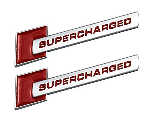 (Aimoll 2pcs Supercharged Badge Emblems,3D Decal for Audi TT A3 A4 A5 A6 A7 A8 Q3 Q5 Q7 S4 S6 S5 RS5 (Silver Red))