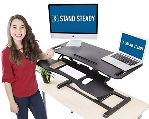Stand Steady Flexpro Hero Two Level Standing Desk - Easily Sit or Stand in Seconds! Large Work Space w/Removable Extra Level for Keyboard & Mouse! (Large (37