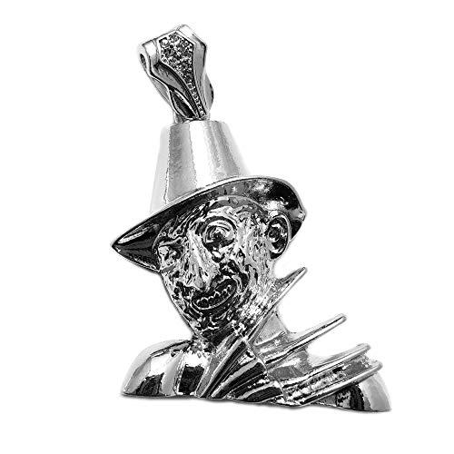 BLINGFACTORY Hip Hop White Gold Plated Freddy Krueger Charm Pendant