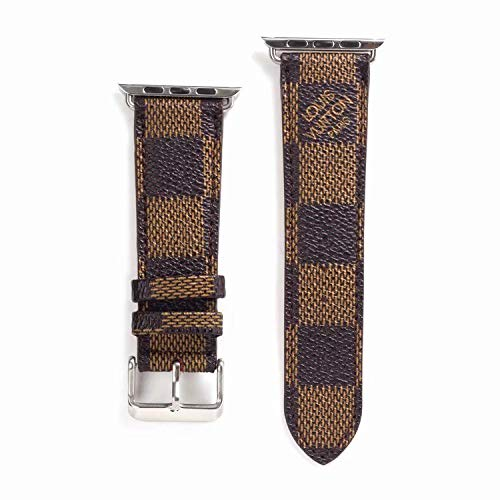 38mm (Fit for 40mm) Compatible Apple Watch Straps, Luxury Fashion PU Leather Classic Wrist Bands for Women and Men, Replacement for Apple Watch Series 4 3 2 1 38/40MM (Checker - Gucci Series Watch