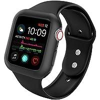 Ksaier Compatible Apple Watch Band 1.575in 1.732in con funda, resistente a los golpes, funda protectora con correa de silicona suave deportiva, compatible Apple Watch Series 4 Sport Edition