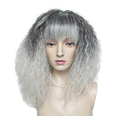 Peluca de mujer sintética larga Kinky rizada negra/blanca con brazaletes Carnaval peluca natural peluca