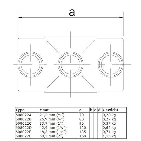 /Ø 21,3 bis 60,3 mm Feuerverzinkter /& Galvanisierter Temperguss Rohrverbinder Kreuzst/ück Durchgehend