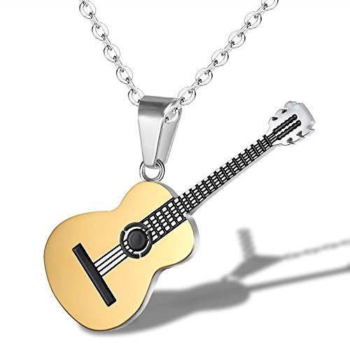 (ATDMEI Violin Guitar Pendant Necklace for Mens Women Stainless Steel Vintge Gothic Jewelry Gifts)