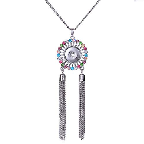 Fashion Jewelry Charm Tassel Pendant Drill Snap Fit for 18mm Noosa Button N219