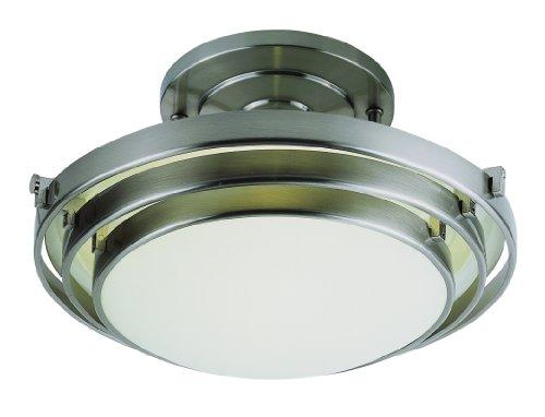 Trans Globe Lighting 2480 BN 1-Light Semi-Flush-Mount, Brushed Nickel