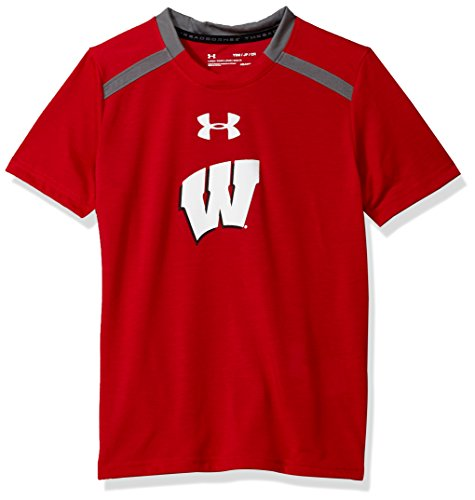 Under Armour NCAA Wisconsin Badgers Teen-Boys NCAA Boys Short Sleeve Vented Tee, Large, Flawless