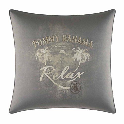 Tommy Bahama Raffia Palms Relax Print Throw Pillow, 20x20, Grey (Bahama Throw Pillows Tommy)