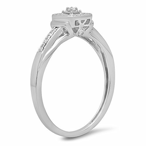 0.15 Carat (ctw) Sterling Silver Round Diamond Ladies Square Engagement Ring (Size 6)