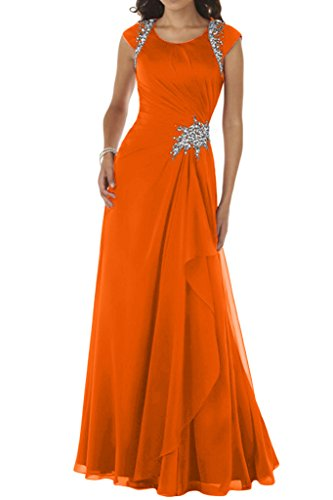 rotondo moda da sera con abito da donna con ballo abito da Orange alla scollo chiffon Ivyddressing 4UTW6PqU