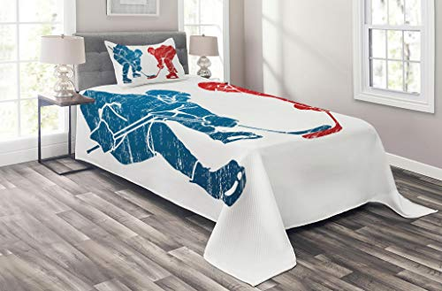 Lunarable Sport Coverlet Set Twin Size, Hockey Players Hobby Activity Themed Athletes Game Win Champion Olympics Illustration, 2 Piece Decorative Quilted Bedspread Set with 1 Pillow Sham, Blue Red -