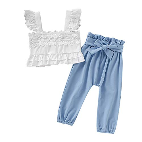 2PCS Toddler Baby Girl Clothes Sets Lace Ruffle Sleeveless Strap Top + Bowknot Pants Summer Outfits 1-5T (Blue, 3-4T)]()