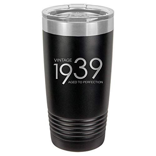 1939 80th Birthday Gifts for Men and Women Black 20 oz Insulated Stainless Steel Tumbler   80 Year Old Presents   Mom Dad Wife Husband Present   Party Decorations Supplies Anniversary Tumblers Gift th