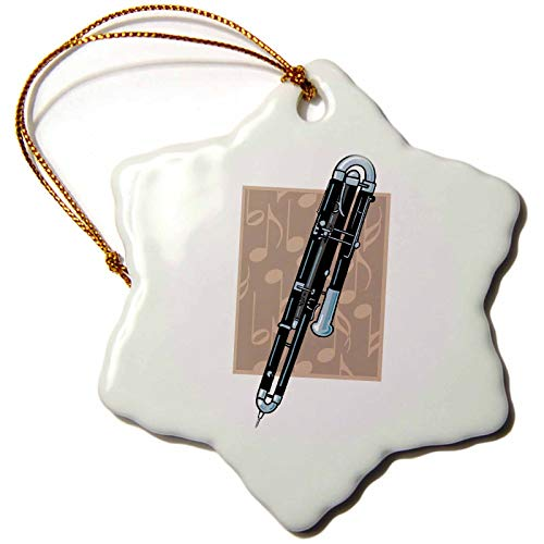 3dRose orn_150121_1 Contrabassoon Music Musical Instrument Design Snowflake Porcelain Ornament, 3-Inch