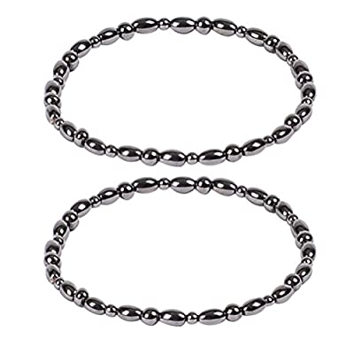 Healifty Weight Loss Bracelet 2pcs Healthy Care Weight Loss Anklet Magnet Bracelet Elastic Bracelet for Women and Man (Black)