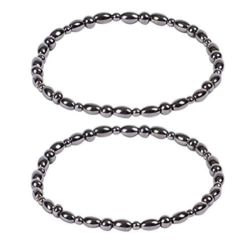ROSENICE 2pcs Hematite Magnetic Therapy Anklets Magnetic Bracelets Therapy Healing Jewelry for Men Women Arthritis and Carpal Tunnel Pain Relief -